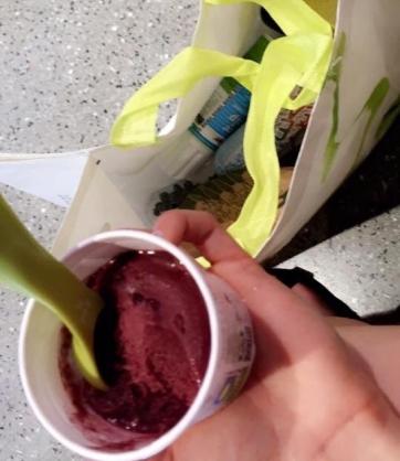 glace et crème chantilly sans lait animal à un magasin bio de Coimbra