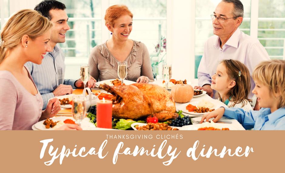 Typical Thanksgiving family dinner