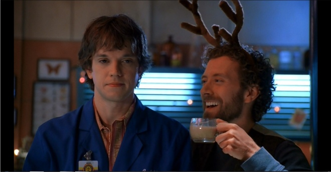 Hodgins and Zack drinking eggnog episode 9 season 1 Bones