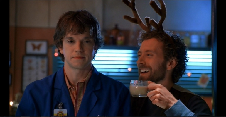 Hodgins and Zack drinking eggnog episode 9 season 1 Bones